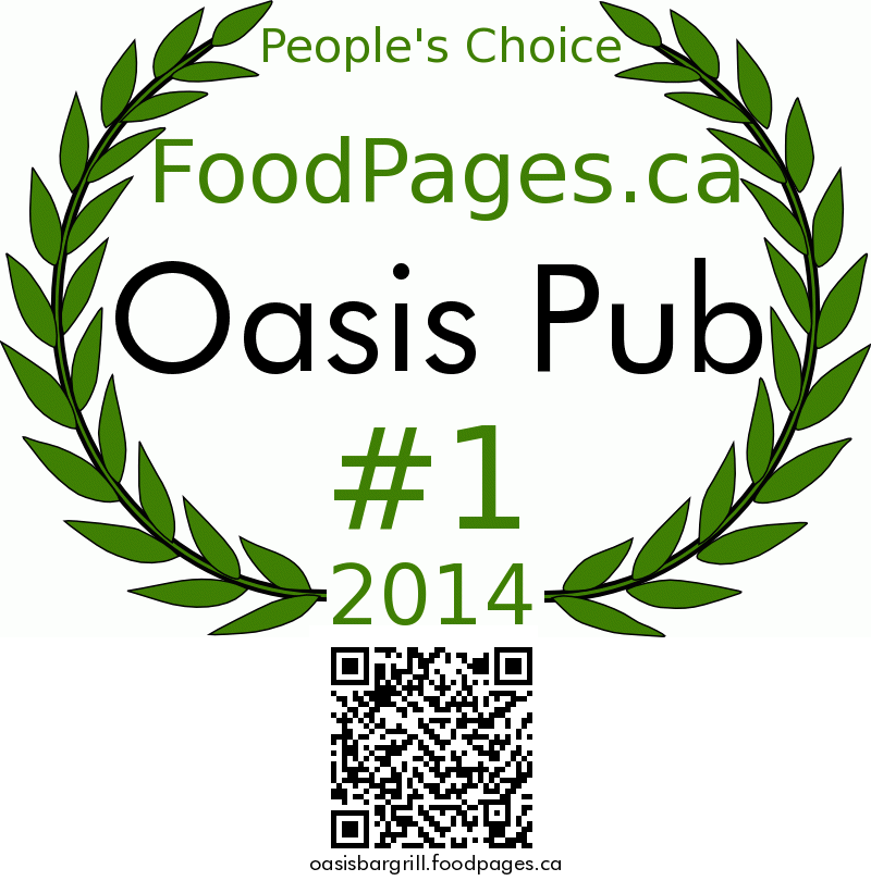 Oasis Pub FoodPages.ca 2014 Award Winner